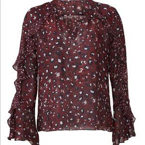 Parker Purple Silk Leopard Print Blouse Size L